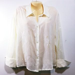 Croft & Barrow IVORY LS Blouse Embroidered Poly